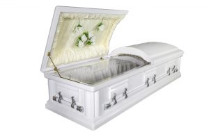 White Full Glass Cremation Casket